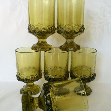 Six Tiffin Franciscan Madeira glasses, Vintage Tiffin green glasses, Retro 60s Avocado Stemmed glassware