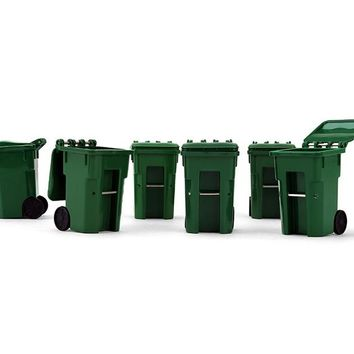 Set of 6 Green Garbage Trash Bin Containers Replica 1/34 by First Gear