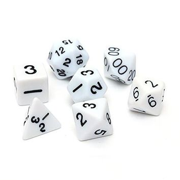 Set 7PCS Dice Dice Die D4~D20 for Games Dungeons & Dragons RPG Dungeons and Dragons D&D white