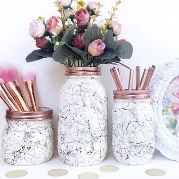 White marble, black marble effect ball mason jar, marble desk accessories, marble decor, makeup brush holder, teen room, marble storage jar