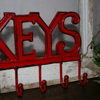 Red Metal Hook / key hooks /  key hangers / metal wall accents / home decor / kitchen decor / living room decor
