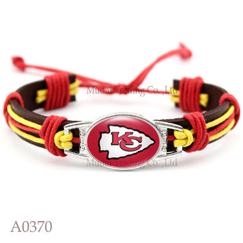 (Men's Fashion) Adjustable Kansas City Leather Cuff Chiefs Bracelet for Men Women Casual Football Team Bangle Wristband Jewelry
