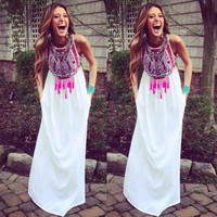 New Sexy Women Summer Long Dresses Fashion Printing Vintage BOHO Beach Party Maxi Dresses Sundress