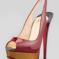 Lady Peep-Toe Patent Platform Pump, Red