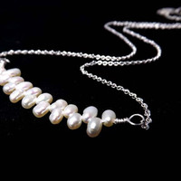 Sterling silver everyday Necklace-Tiny nineteen fresh water pearl-Mothers day gift