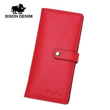 BISON DENIM 100% Genuine Leather Women Long Wallets Female Women Clutch Simple Bags 22 Card Holder Purse N3256