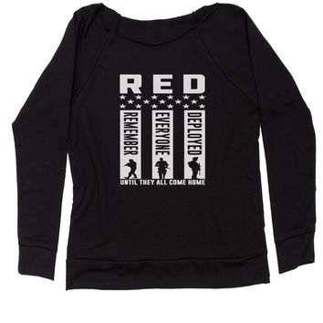 RED Remember Everyone Deployed Slouchy Off Shoulder Oversized Sweatshirt