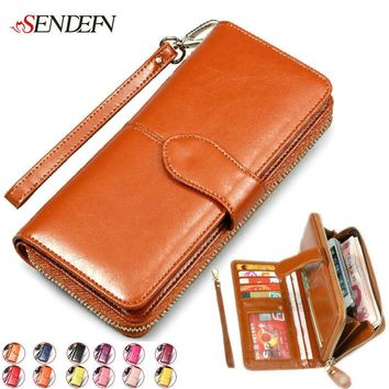 100% Vintage Cowhide Women Wallets Genuine Leather Wallet Woman Brand Coin Purse Zipper Ladies Leather Wallets Long Credit Cards