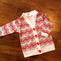 Pink and Gray Chevron Cardigan, Baby Cardigan, Toddler Cardigan, Pink Infant Cardigan, Baby Girl Cardigan
