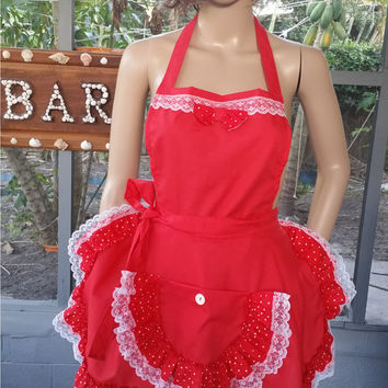Sexy Red Full Apron with Lace Polka Dot Ruffles, Holiday Full Apron, Petite Juniors Misses Apron, Ruffled Flirty Skirt Valentines Apron