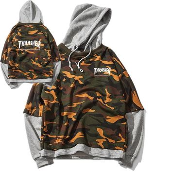 Thrasher Unisex Camouflage Sports Hoodies [11529801164]