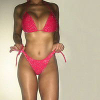 Women Bling Rhinestones Push-up Bra Bandage Bikini Set Swimsuit Triangle Swimwear Bathing Suit