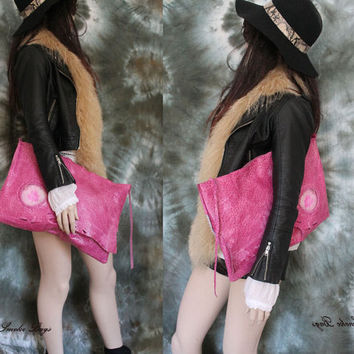 Leather oversized clutch ostrich pink leather raw edges huge agate stone bag bohemian spirit boho evening purse moroccan by sweet smoke bags