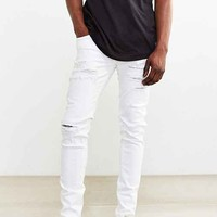 Dr. Denim White Ripped Snap Skinny Jean