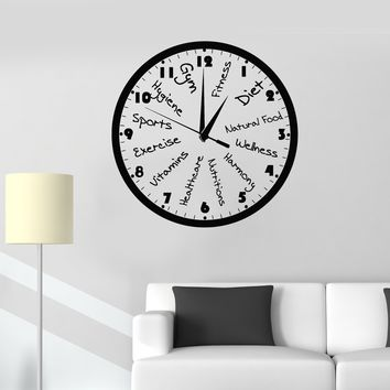 Vinyl Wall Decal Fitness Club Clock Sports Motivation Gym Art Decor Stickers Mural Unique Gift (ig5066)