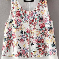 White Floral Sleeveless Tank Top