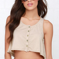 Can't Catch Me Beige Crop Top