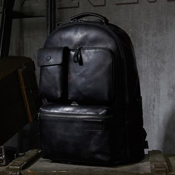 Luxury Mens Cow Leather Backpack Leather Bag Military Style