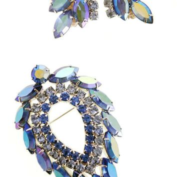 Vintage Signed Jewelry Sarah Coventry Brooch & Ears Blue Lagoon 1960's