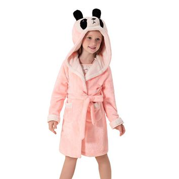 KAMIWA Baby Girls Winter Pajamas Coral Velvet Robes Hooded Sleepwear Girls Clothes Bathrobe Kids Clothes Children's Clothing
