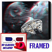 Star Wars Millennium Falcon Death Star Framed 3D Limited Edition Print +glasses