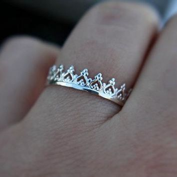 12pcs Gold Silver Lovely Crown Ring Fancy Princess Ring Engagement Queen Ring RG135
