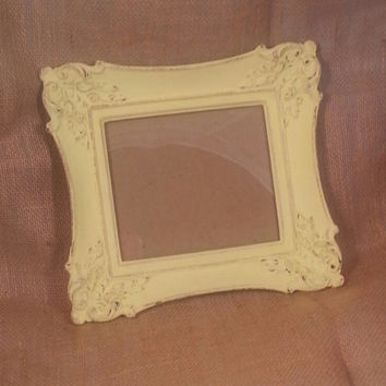 Vintage Shabby Chic Plaster Picture Frame, Hand Painted Light Yellow and Distressed