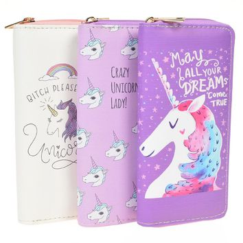 Zipper Wallets For Women With Phone PU Cartoon Unicorn Clutch Purses Small Credit Cards Holder Long Ladies Mini Wallets