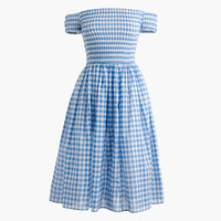 Smocked off-the-shoulder gingham beach dress