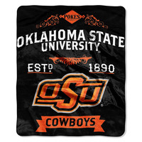 "Oklahoma State Cowboys 50""x60"" Royal Plush Raschel Throw Blanket - Label Design"