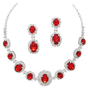 Red Regal Statement Rhinestone Crystal Bridal Bridesmaid Necklace Earring Set Silver Tone G1