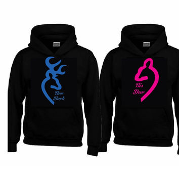 Her Buck - His Doe Hoodies+Your name on the back or any text