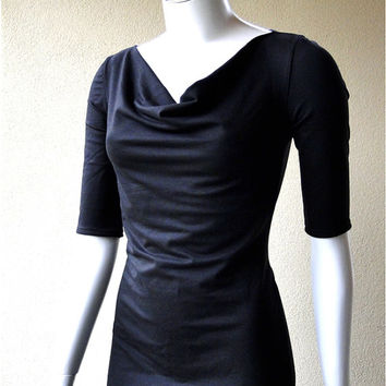 Draping neckline black dress