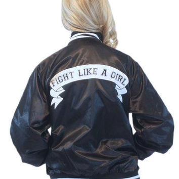 Fight Like A Girl Baseball Jacket