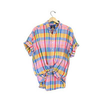Vintage plaid shirt. Colorful loose fit shirt. Short sleeve tee shirt. Preppy button up top. Oversized Colorful collared tshirt. Mens XL