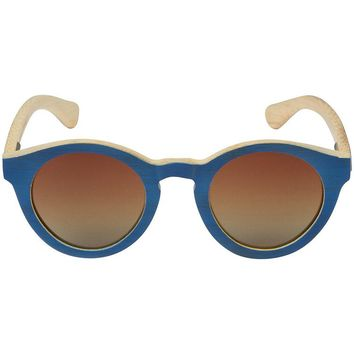 Navy Bamboo Wood Sunglasses with Round Frame