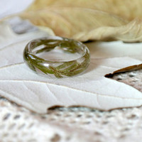 eco resin ring-REAL FLOWER RING-leaves of by LovelinessNature