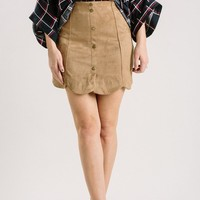Kaye Camel Scallop Mini Skirt