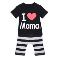 Children Summer Set boys girls I Love Mama short sleeve t-shirt+pants suit kids pajamas SV001838_MA|26601 Children's Clothing = 1745380804