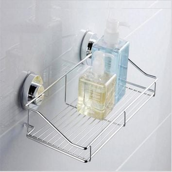 Stainless Steel Strong Suction Shower Basket Dual Sucker Bathroom Shelf Washing Room Kitchen Corner Basket Wall Mounted Rack