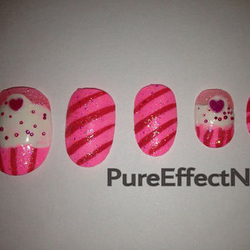 Pink & Glitter Cupcake Hand Painted Nails by PureEffectNails