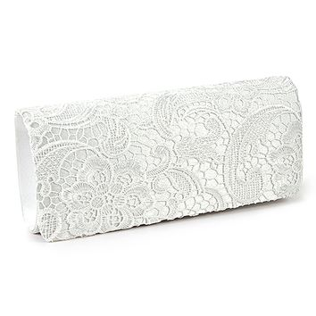 SCYL women Lace Floral Satchel white clutch bag for wedding, Evening Bags Purses and Handbags