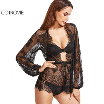 COLROVIE Fashion Lace Hollow Shirts Women Sexy Blouse Black Plunge Neck Drawstring Waist Lace Cover Up Top Blouse