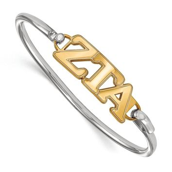 14K Plated Silver Zeta Tau Alpha Small Clasp Bangle - 7 in.