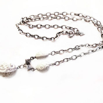 Sarah Coventry Necklace,  Beaded Silver Chain