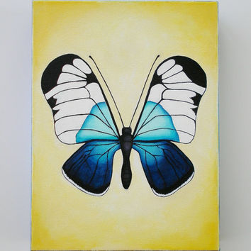 Butterfly Painting, Original Acrylic on canvas painting of Butterfly, Blue and Yellow