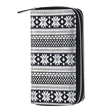 HAWEE Big Size Long Wallet for Woman Dual Zippered Clutch Purse Premium PU for Smart PhoneCardCoinCash
