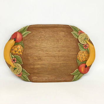 Mid Century Serving Tray, Hand Carved Tray, Mid Century Fruit, Vintage Serving Tray, Wooden Serving Tray, Mid Century Kitchen, Modern Art