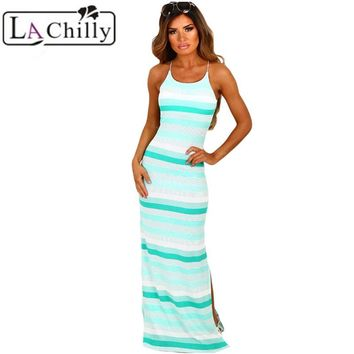 La Chilly print Vintage dress Hollow Out Sexy bodycon dresses Sleeveless Summer Mint and White Stripe Jersey Maxi Bohemian Dress