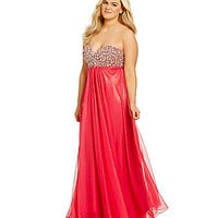 Glamour by Terani Couture Plus AB-Stone Bust Gown | Dillards.com